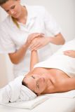 Body care - woman hand massage Stock Photo