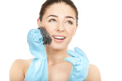 Body care. Wrong way to scrab your face Stock Photo