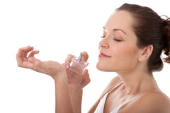 Body care - Young woman apply perfume Stock Photography