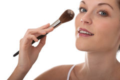 Body care - Young woman apply powder Royalty Free Stock Photos