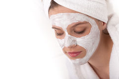 Body care - Young woman with facial mask Royalty Free Stock Image