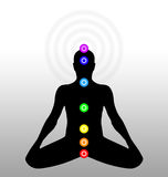 Body chakras. Seven chakras on a human body Vector Illustration