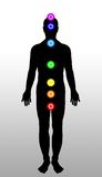 Body chakras. Seven chakras on a human body Stock Illustration