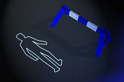 Body chalk outline at crime scene Stock Photo