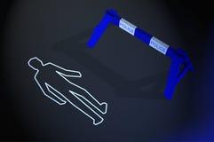 Body chalk outline at crime scene Stock Photo