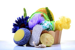 Body cleaning items. With white background Royalty Free Stock Photo