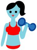 Body conscious. A woman exercising with dumbbell isolated line art cartoon Stock Photography