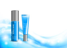 Body cream cosmetic ads template. With blue realistic bottles on wavy shiny soft light lines background. Vector illustration royalty free illustration