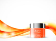 Body cream cosmetic ads template. With orange realistic package on wavy soft dynamic shiny lines background. Vector illustration royalty free illustration