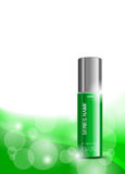 Body cream cosmetic ads template. With skin moisturizer green realistic package on light wavy dynamic lines background. Vector illustration royalty free illustration