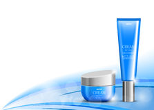 Body cream cosmetic design template. With blue realistic packages on wavy light dynamic curved lines background. Vector illustration royalty free illustration