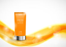 Body cream cosmetic design template. With orange realistic bottle on soft wavy dynamic shiny lines background. Vector illustration royalty free illustration