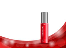 Body cream cosmetic design template. With red realistic bottle on bright wavy elegant dynamic lines background. Vector illustration stock illustration