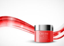 Body cream cosmetic design template. With red realistic package on wavy soft smooth light lines background. Vector illustration stock illustration