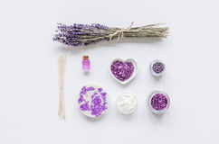 Body cream with lavender herbs cosmetic white background top view mock-up Stock Image