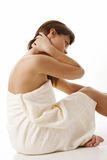 Body creme aplication Stock Images