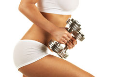 Body with dumbbells Stock Image