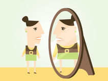 Body Dysmorphic Disorder. A scene illustrating body dysmorphic disorder where a woman is seeing herself at a heavier weight than she actually is Stock Photo