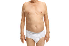 Body of an elderly man in underwear Stock Photo