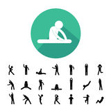 Body exercise  icon. Body exercise stick figure icon Royalty Free Stock Image
