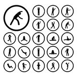 Body exercise  icon. Body exercise stick figure icon Stock Photos