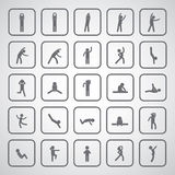 Body exercise stick figure icon. On gray background Stock Image