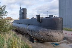 The body of the famous midget submarine UC3 Nautilus in Copenhagen royalty free stock photography