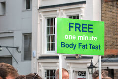 Body Fat Test Sign. Overweight Public Health stock photo