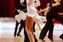 Body of female dancer. In white gown latino international dancin Royalty Free Stock Photo
