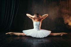 Body flexibility of ballet performer, stretching. Exercise. Ballerina in white dress sits on a twine on black wooden floor Royalty Free Stock Photography