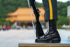 Body guard at National Revolutionary Martyrs` Shrine Taiwan. I`ve taken this picture of a body guard with the rifle at National Revolutionary Martyrs` Shrine Royalty Free Stock Image