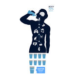 Body health infographic illustration drink water icon dehydration symptoms Stock Photography