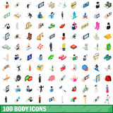 100 body icons set, isometric 3d style Royalty Free Stock Image