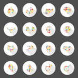 Body icons web long shadow design Stock Photography