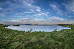 Body of lake water next to a body of grass land. Shot with a wide angle fisheye lens Stock Images