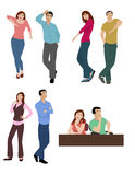 Body Language. Men & women sitting, standing, and leaning in different positions showing their thoughts and feelings at that time Stock Photography