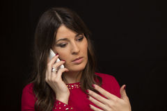 Body language during the interview by phone Stock Photo