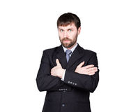 Body language. man in business suit, gesture of arms and hands. standard gesture crossed arms. isolated white background Royalty Free Stock Image
