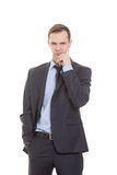 Body language. man in business suit isolated on Royalty Free Stock Photos