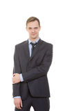 Body language. man in business suit isolated white Stock Photography