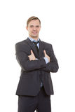 Body language. man in business suit isolated white. Body language. man in business suit isolated on white background. gestures of arms and hands. posture of royalty free stock images