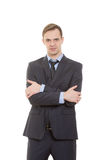 Body language. man in business suit isolated white. Body language. man in business suit isolated on white background. gestures of arms and hands. posture of Royalty Free Stock Photo