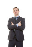 Body language. man in business suit isolated white Stock Images