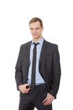 Body language. man in business suit.  Stock Photo