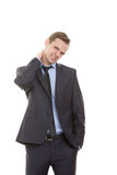 Body language. man dressed business suit isolated Royalty Free Stock Image