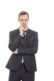 Body language. man dressed business suit isolated Stock Photo