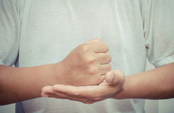 Body language of man - he gesticulate to show better the sense of his words. Stock Images
