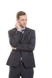 Body Language. Man In Business Suit Isolated White Stock Image