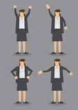 Body Language of Professional Woman in Formal Grey Suit Vector I. Vector illustration of a professional looking brunette in formal grey suit in four poses  on Royalty Free Stock Images