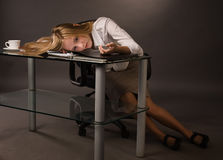 Body of the lifeless college girl stock photography